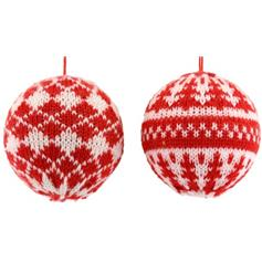 Nordic Red & White Knitted Bauble - set of 2