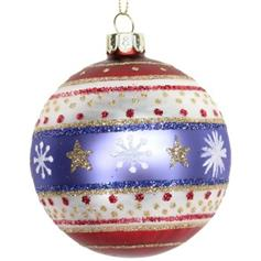 Glass Ball - Red, White & Blue with Stars