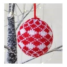 Nordic Red & White Knitted Bauble - Diamond