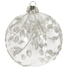 Clear Glass Ball with Silver Vine Leaves