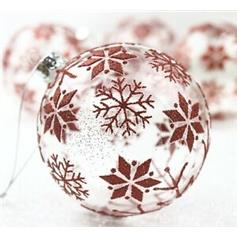 Clear Glass Ball w Red Glitter Snowflake