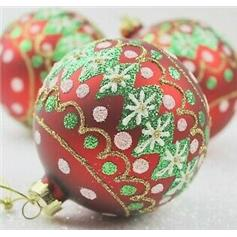 Diamond Glass Bauble - Red with Green