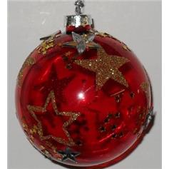 Gold & Silver Stars Bauble - Red