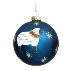 Blue glass ball with Sheep