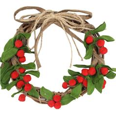 Twig & Felt Holly Wreath