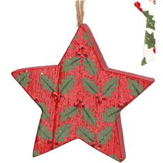 5-point Star with Holly - red
