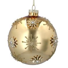 Gold glass ball with Raised Gold Stars