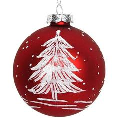 Red Glass Ball w White Christmas Tree