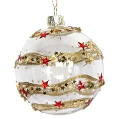 Clear Glass Ball w Gold Band/Red 3-D Stars