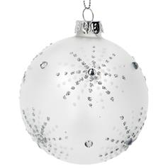 Opaque Glass Ball with Silver Diamante Starburst