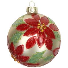 Gold Glass Ball w Red Poinsetta