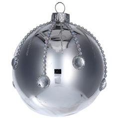 Silver Glass Ball with Diamante Droplets