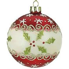 Holly Glass Bauble - red