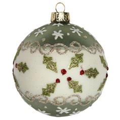Holly Glass Bauble - green