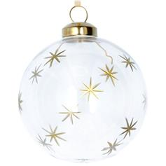 Clear Glass Ball with Gold Etched Stars