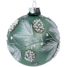 Sage Green Glass Ball with Fir & Berries