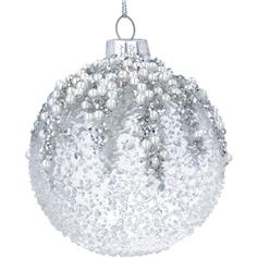 Crushed Clear Glass Ball with Silver Glitter/Pearl