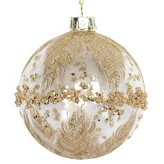 Clear Glass Ball w Gold Glitter Band/Feathers