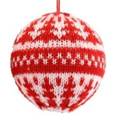 Nordic Red & White Knitted Bauble - Christmas Tree