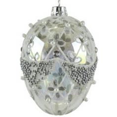 Silver Egg with Jewels & Pearls