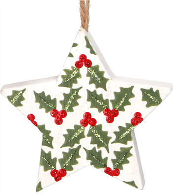 5-point Star with Holly - white