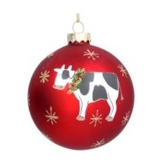 Red glass ball with Cow