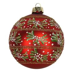 Red/Glitter Glass Ball with Mistletoe Bands