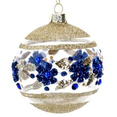 Clear Glass Ball with Blue & Gold Flower