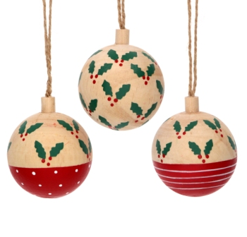 Wooden bauble - Holly